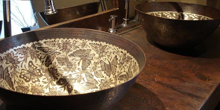 barthroom copper sinks