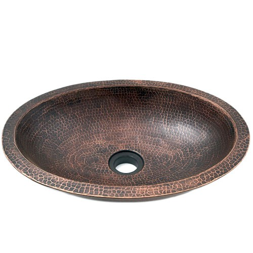 """19"""" Oval Hammered Copper Double Wall Bar Vessel Sink"""