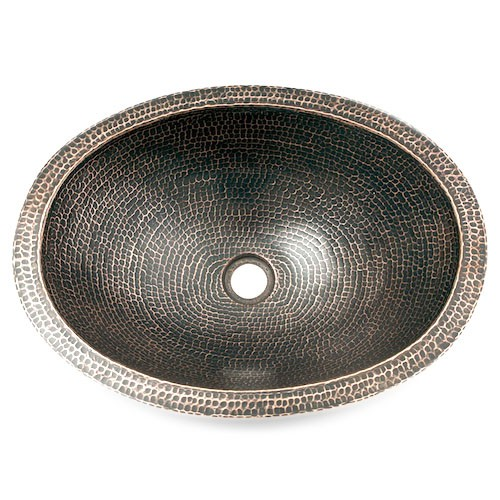 "19"" Oval Plain Hammered Copper Bathroom Sink"