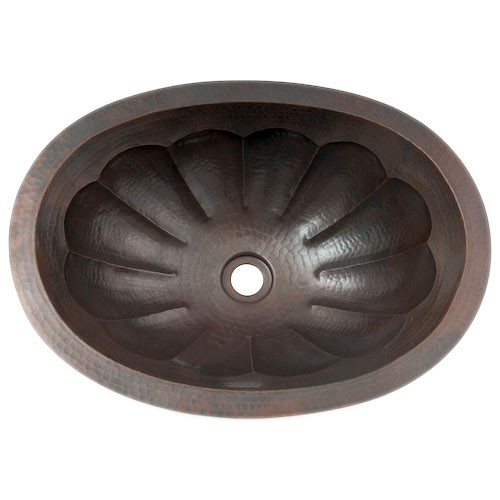 "19"" Oval Scallop Hammered Copper Bathroom Sink"