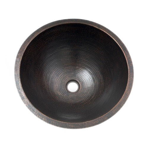 "17"" Round Plain Hammered Copper Bathroom Sink"