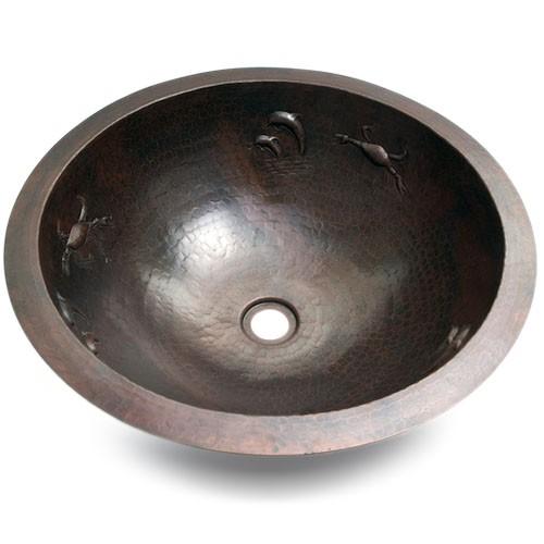 """17"""" Round Sea Hammered Copper Bathroom Sink"""
