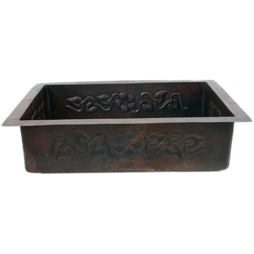 """33"""" Floral Hammered Copper Drop-in Single Well Kitchen Sink"""