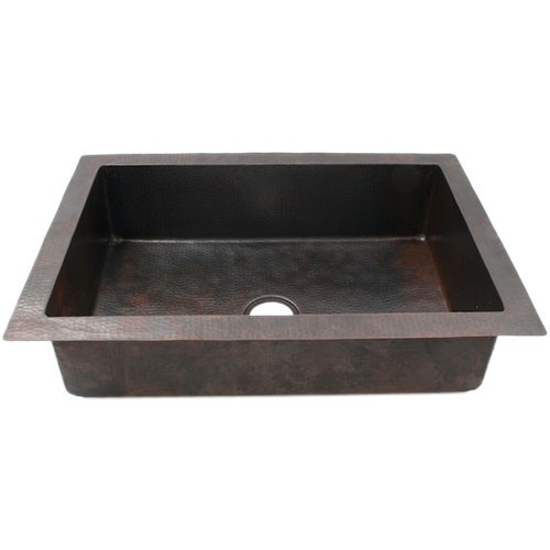 "33"" Plain Hammered Copper Drop-in Single Well Kitchen Sink"