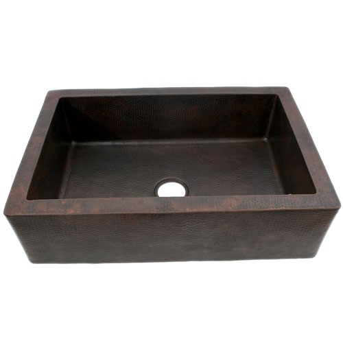 Large Apron Sink : ... Plain Large Hammered Copper Farmhouse Apron Single Well Kitchen Sink
