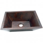 "18"" Rectangular Hammered Copper Double Wall Bar Vessel Sink"