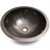 "17"" Round Sea Hammered Copper Bathroom Sink"