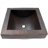 "17"" Square Hammered Copper Apron Bathroom Sink"